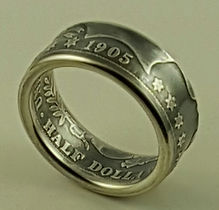 Barber quarter and half dollar coin rings