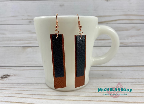 Faux leather Copper and Metallic Black double bar earrings.