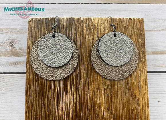 Faux leather circle earrings