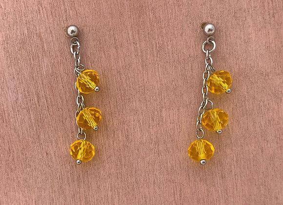 Yellow glass crystal earrings