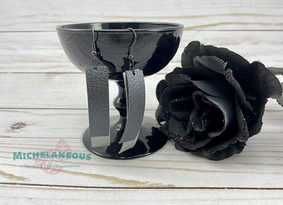 Faux leather Silver and Metallic Black double bar earrings.