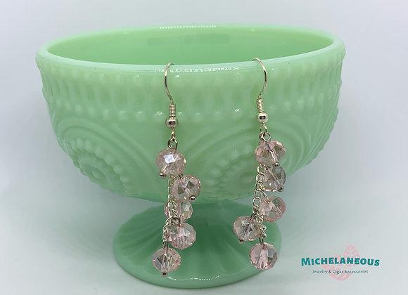 Pink glass crystal earrings