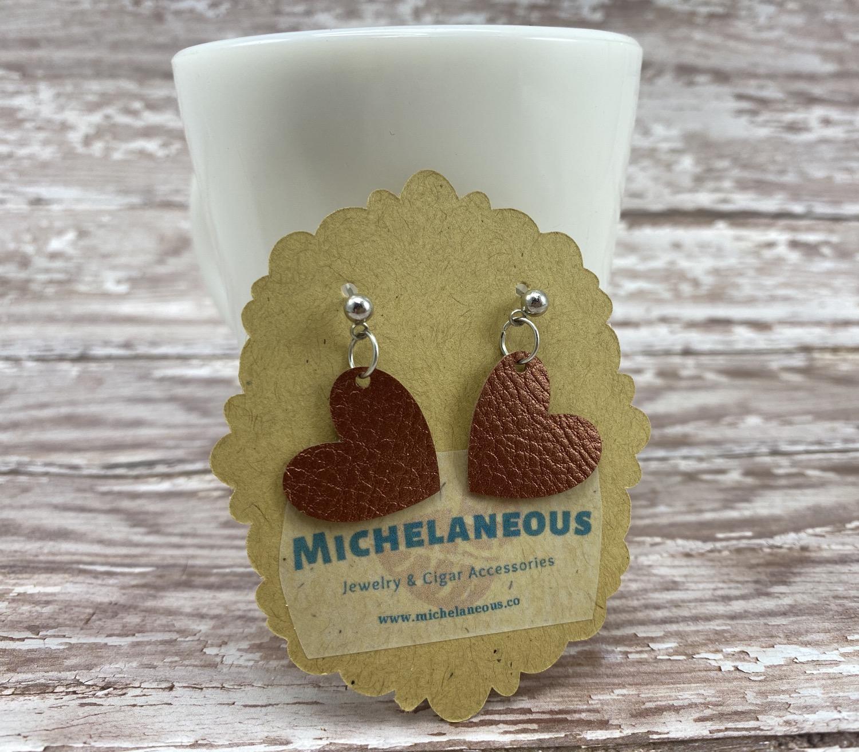 Copper faux leather heart earrings