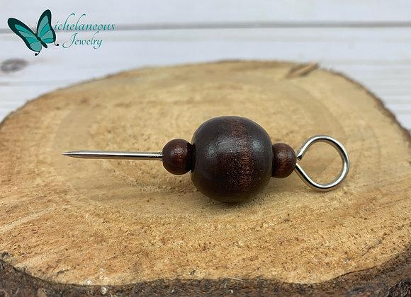 Cigar holder with dark wooden beads - Dark -  Three Round