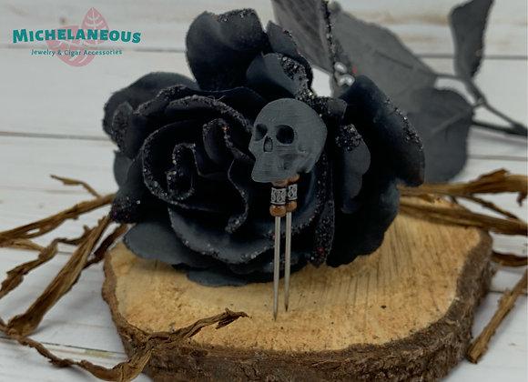 3D Printed Black Skull Cigar Poker with Beads