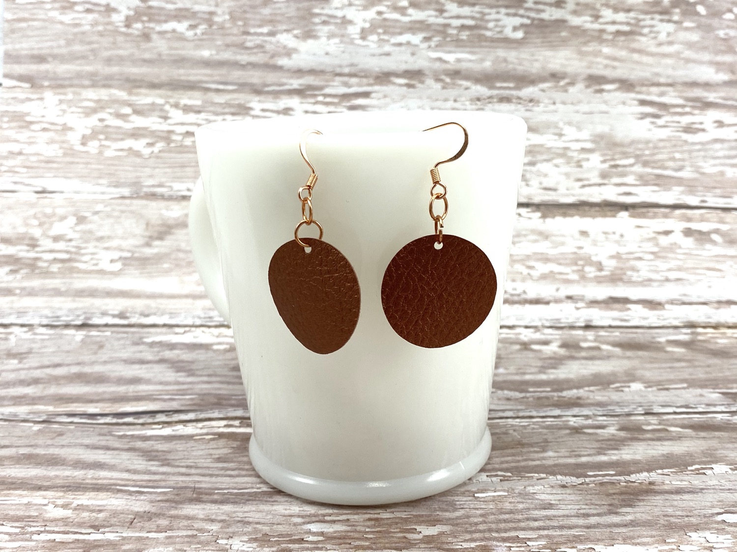 Copper faux leather circle earrings