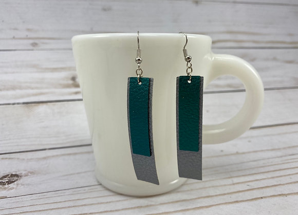 Faux leather Silver and Peacock Blue double bar earrings.
