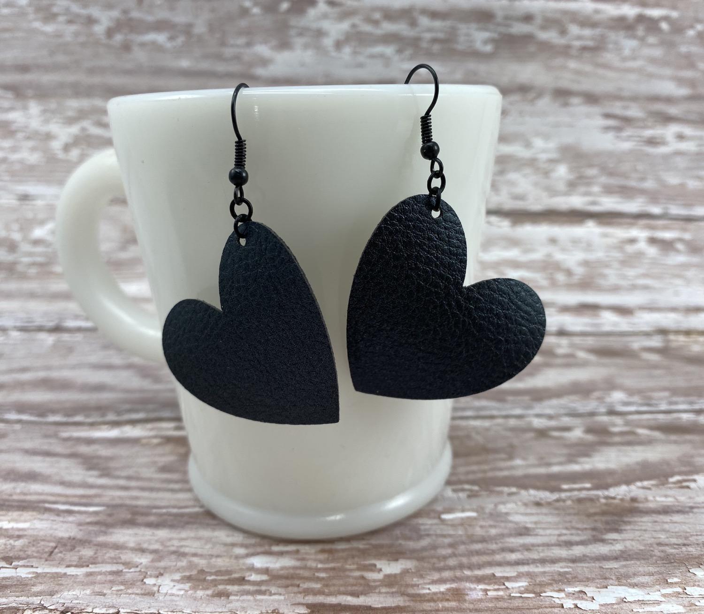 Black faux leather heart earrings