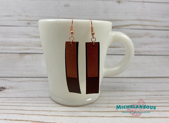 Faux leather Copper and Cafe double bar earrings.