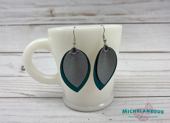 Faux leather Peacock blue and Silver pinched teardrop earrings.