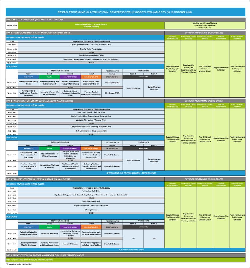 Walk21 Bogota Draft Agenda