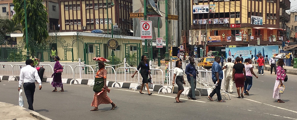 People walking in Lagos Island CBD