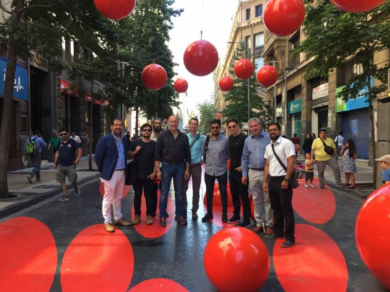 Walk21 and the Santiago Team celebrating Bandera Street walkability