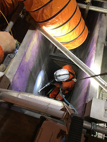 working in chute confined space