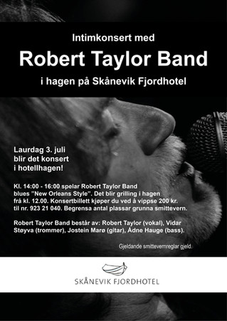 3. JULI: Intimkonsert med Robert Taylor Band i hagen på Skånevik Fjordhotel