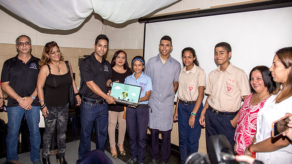 Students receiving eSmart Recycling laptops from Tony Selvaggio