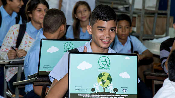 Pupils at school with eSmart Recycling laptops
