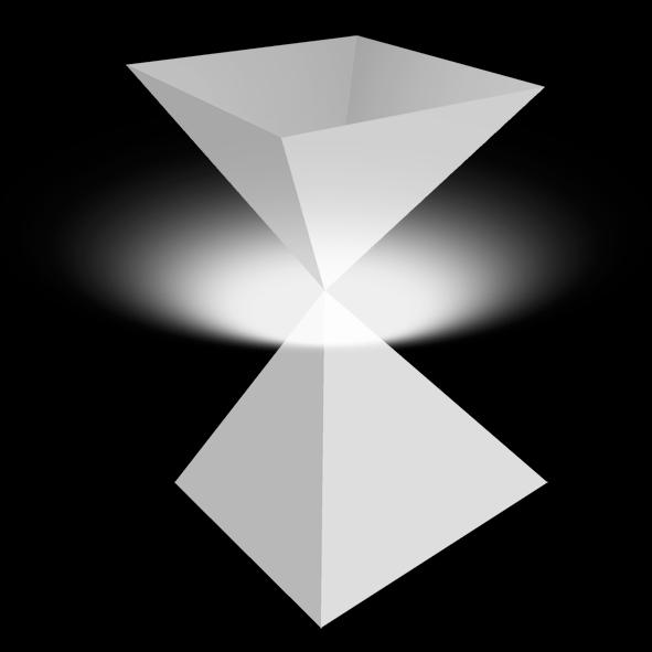Octaèdre décomposé en deux pyramides: à la jonction des deux pointes, à l'endroit précis où les diagonales se croisent, il y a une connexion avec la lumière. (point de jonction entre  la matière et l'immatériel)