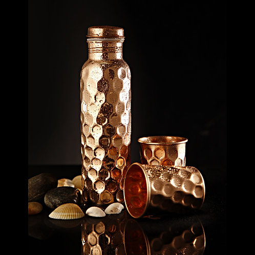 Copper Water Bottle with 2 Glasses