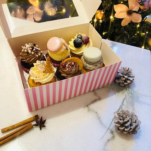6 Kerstcupcakes - variatie