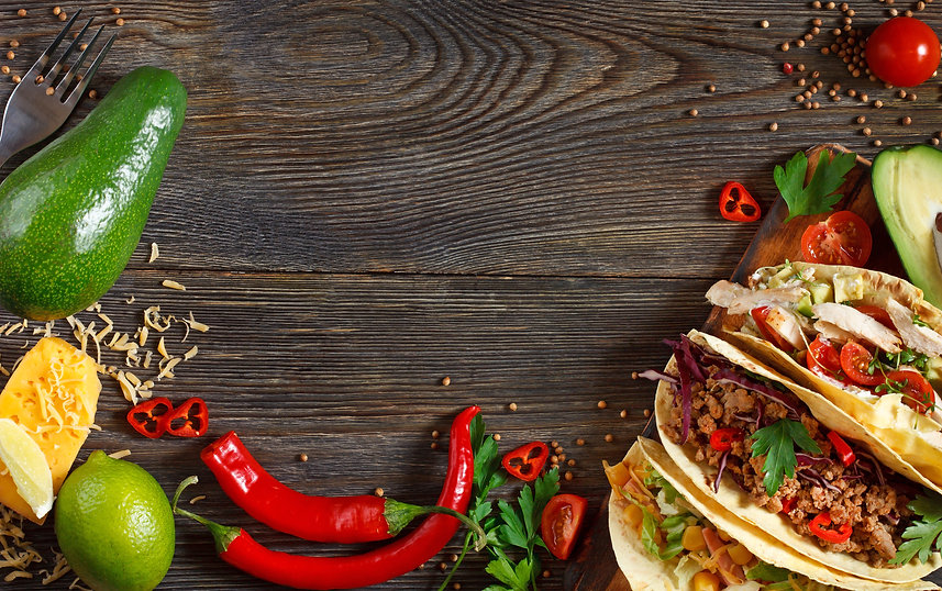 Fresh delicious mexican tacos and food i