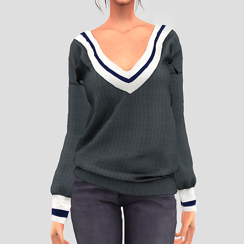 V-Neck college sweater V1