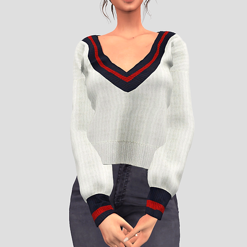 V-Neck college sweater V3