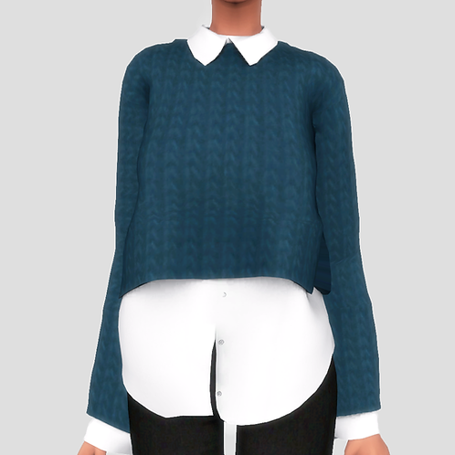 Collard Shirt Under Sweater