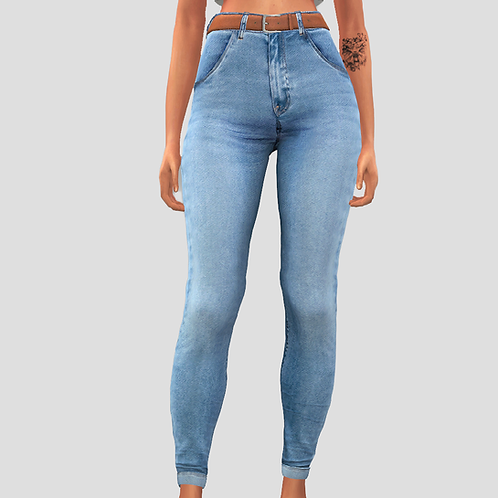 Belted simple jeans