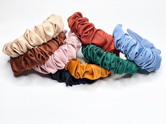 Satin Ruffled Headbands (9 Colors )