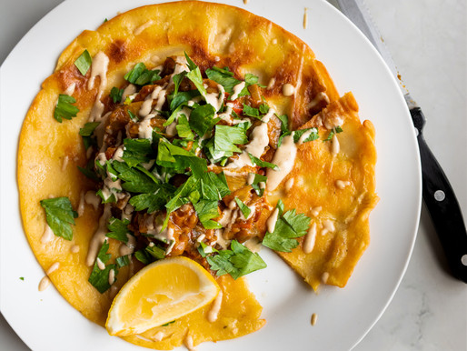 Chickpea Farinata with Spiced Aubergine and Tahini Dressing