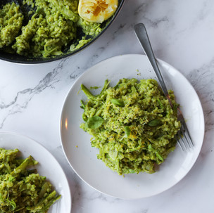 Pea Pesto Risotto with Shaved Asparagus and Lemon