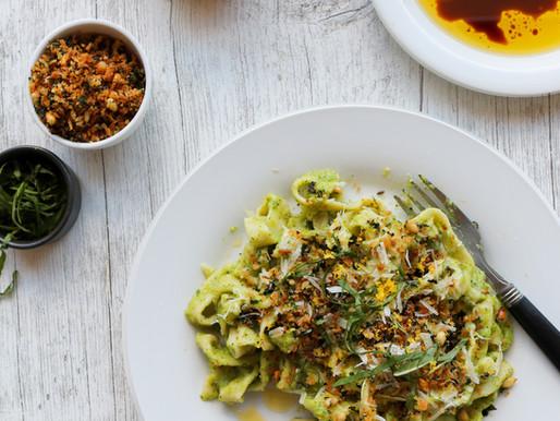 Fresh Tagliatelle with Zucchini, Ricotta and Lemon Mint Pangratatto