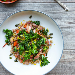 Turkish White Bean Stew with Tomato, Lemon and Herbs and Crispy Kale