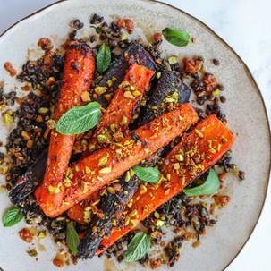 Split Roast Carrots with Miso Maple Glaze and Black Barley