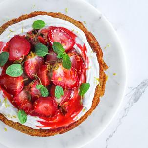 Vegan Lemon Polenta Cake with Coconut Cream and Roasted Strawberries