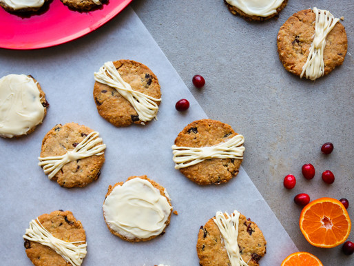 Orange & Cranberry Oat Biscuits with White Chocolate