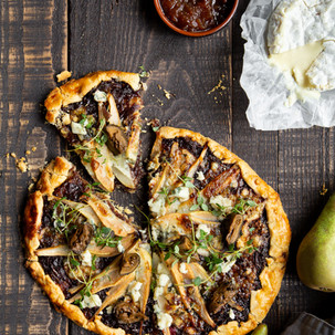 Pear, Caramelised Onion and Blue Cheese Gallette