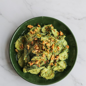 Zucchini with Walnut Stalk Pesto