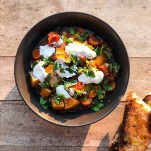 Roast Butternut, Chickpea and Tomato One Dish Casserole with Feta Yoghurt