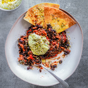 Harissa Black Bean Chilli with Zata'ar Avocado Yoghurt