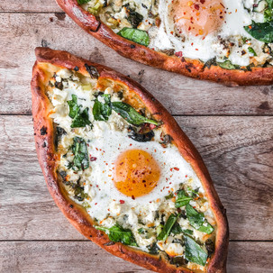 Khachapuri - Georgian Cheese Breads with Baked Egg