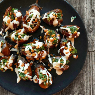 Stuffed Baby Aubergines with Pine Nut and Roast Garlic Salsa and Tahini Dressing