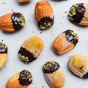 Chocolate, Pistachio, Orange Zested Madeleines