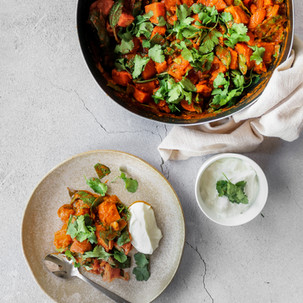 Sweet Potato, Tomato and Spinach Tamarind Curry