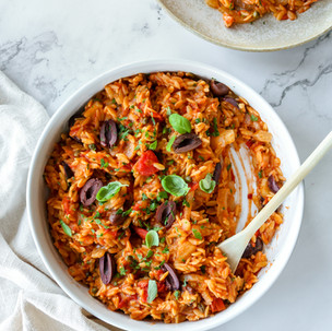 One Pan Orzo with Caramelised Fennel, Olives and Capers