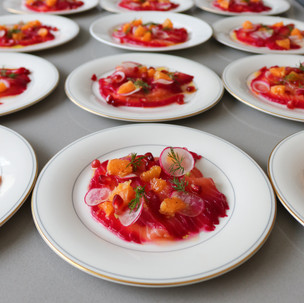 Beetroot Cured Salmon Carpaccio with Clementine and Horseradish