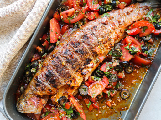 BBQ Trout with Tomatoes, Capers and Olives Salsa
