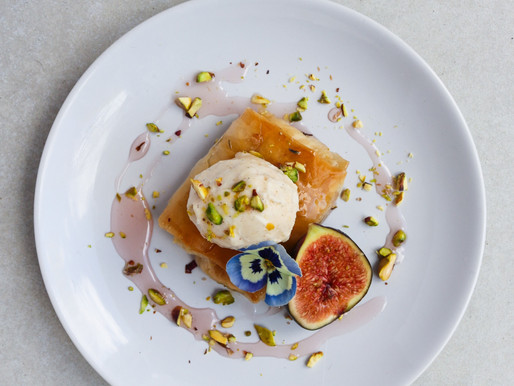 Spiced Custard Filo Parcels, Poached Fig in Lavender Honey and Cardamom Ice Cream