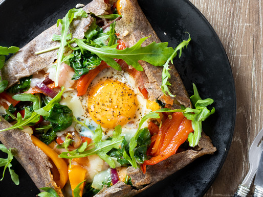 Buckwheat Crepes with Smokey Pepper, Spinach and Manchego